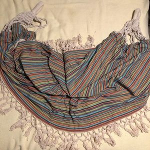 Anthropologie striped hammock with fringe and bag